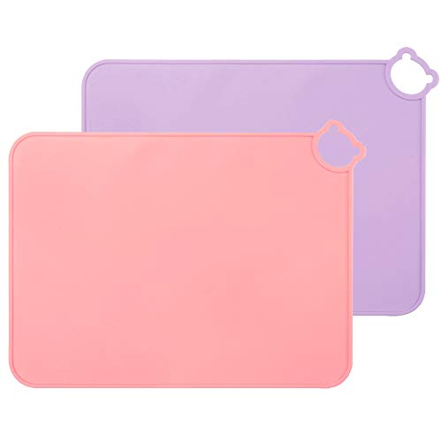 ME.FAN Silicone Placemats for Kids Baby Toddlers Non-Slip | Tablemats Stain Resistant Anti-Skid Reusable Dishwasher Safe Table Mats | Portable Food Mat Travel Set of 2 (Purple-Pink)