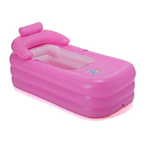 WUPYI2018 Aufblasbare Badewanne, Erwachsene Badewanne PVC Klappbar Bathtub Beweglich Reise Pool SPA Plastikbadewanne 160 * 82 * 75cm (Rosa)