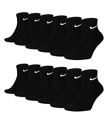 Nike 6 paia di calzini corti da uomo e da donna alla caviglia bianco e nero SX7667 Everyday Cotton Cushioned Ankle calzini sportivi misura 34 36 38 40 42 44 46 48 50 Nero 38-42