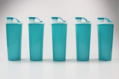 Tupperware to Go Eco - Botellas ecológicas (470 ml, cierre de clip, 5 unidades), color turquesa
