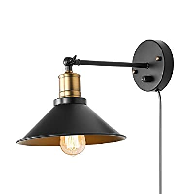 Vintage Wall Lamp Industrial, Black Hardwire Simplicity Bronze Finish Arm Swing Wall Sconces for Home Decor Headboard Bathroom Bedroom Farmhouse Porch Garage (1-Pack)