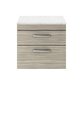 nuie ATH043LSW Athena | Moderner Badezimmer-Waschkommode mit 2 sanft schließenden Schubladen und funkelnder weißer Arbeitsplatte, 600 mm, Treibholz