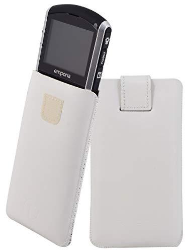 Original Favory Etui Tasche für / Emporia PURE / Leder Etui Handytasche Ledertasche Schutzhülle Hülle Hülle Lasche mit Rückzugfunktion* in weiss