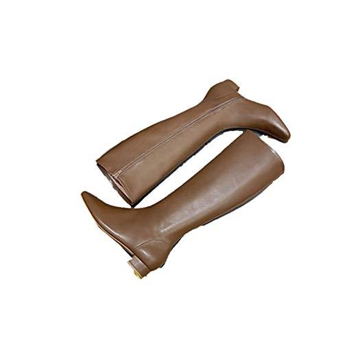 Botas de Motorista para Mujer Botas largas de Punta Cuadrada concisas Resistentes al Agua Otoño Invierno Cremallera de tacón en Bloque Cómodas Botas Altas hasta la Rodilla