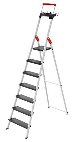 Hailo L100 TopLine, Alu-Sicherheits-Stehleiter, mit Multifunktions-Schale, ausziehbarer Sicherheits-Haltebügel, 7 Stufen, Plattformverriegelung und XXL Stufen, schwarz, Made in Germany, 8050-707