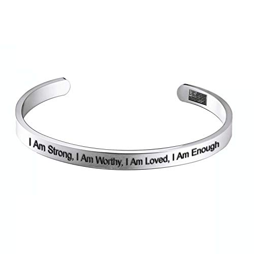 Enhome I Am Strong, I Am Worthy, I Am Loved, I Am Enough for Women Birthday Gifts for Her Silver Cuff Bangle Bracelet