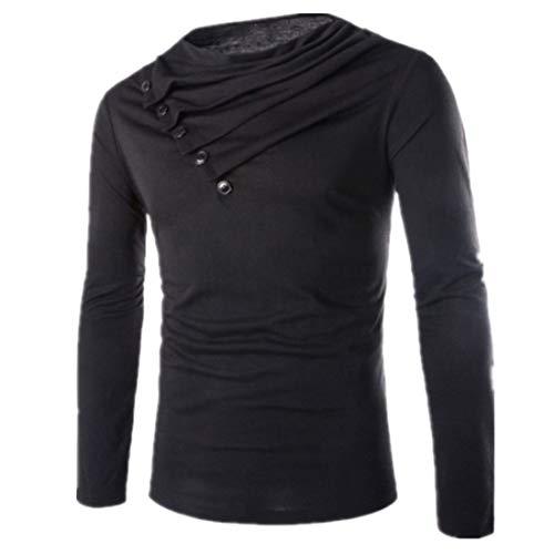 DOLAA Mens Fashion Hoodie Diagonal Zipper Short Sleeve T-Shirt Casual Lapel Men's Diagonal Button-Neck Long-Sleeved t-Shirts Men's Slim Long-Sleeved Fashion Diagonal Button High Collar Slim