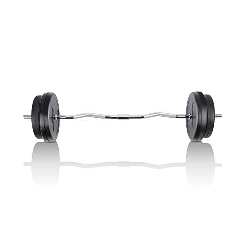 MENCIRO Barbell Set 66LB Curl Barbell Weights Set for Home Gym Workout Fitness 4 ft Curl Barbell Bar for Bench Press Full Body Multi-Function Workout
