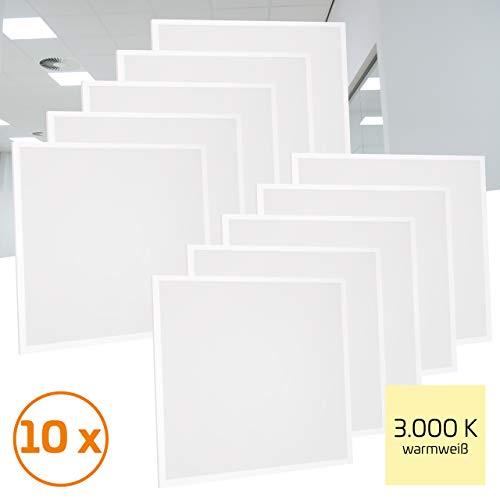 Proventa® LED-paneel 62 x 62 cm, 10 stuks, 36 W (A++), warm wit 3.000 K, 3.600 lumen, heraansluitbare voeding m. Eurostekker, 2 jaar garantie