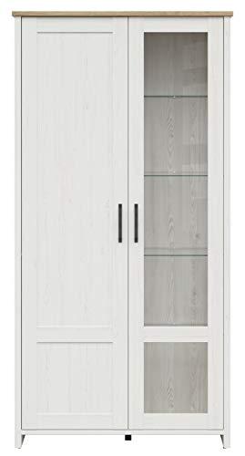 Boardd - Mueble de pared de cristal con 2 puertas (tablero de densidad media, 102 x 201 x 43 cm), color blanco