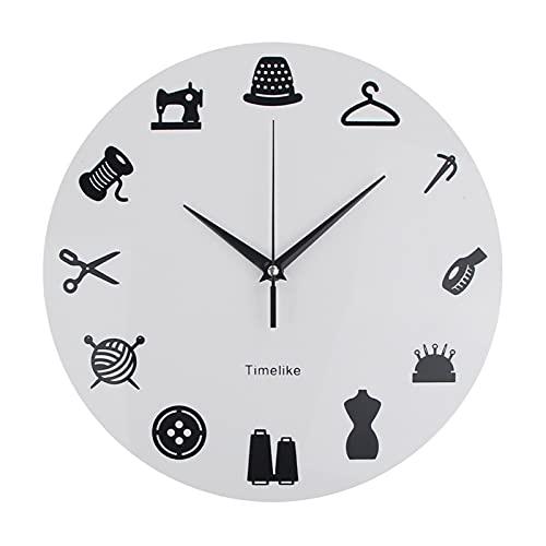 DANFENG Tienda de Sastre Ropa Cortada Reloj de Pared CostureStress Modern Wall Clock Modifique la Etiqueta Signo de Costura Reloj de Pared Personalice Watch