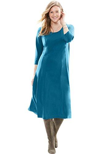 Women's Plus Size Knit Dress Exotic Peacock,2X