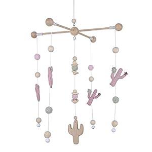 Baby Wooden Mobiles Nordic Nursery Baby Girl Room Decor Handmade Craft Hanging with Wooden Beads Cactus Pendant Best Shower Gift (Detachable)