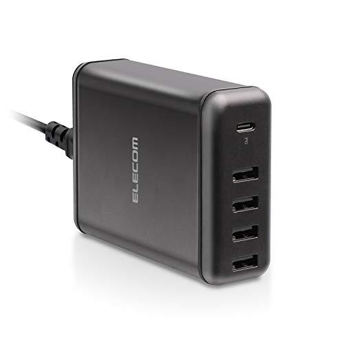 エレコム USB 充電器 ACアダプター コンセント 急速充電器 [ 60W /USB-A×4 &USB-C×1 ] Power Delivery搭載 電源ケーブル PSE認証済 1.5m ブラック EC-ACD02BK