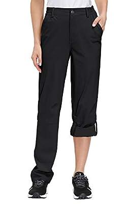Libin Women's Hiking Pants Lightweight Quick Dry ConvertibleRoll Up Outdoor Capri Pants, UPF 50, Stretch, Water Resistant, Black L