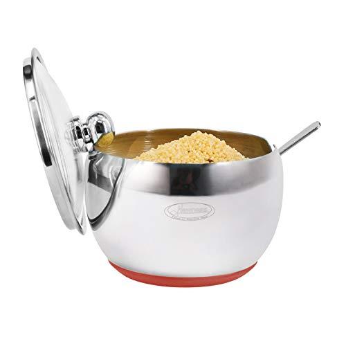 Newness Azucarero, acero inoxidable azucarero con tapa transparente (para mejor reconocimiento) y azúcar cuchara para hogar y cocina, forma de tambor Small Size, Rojo