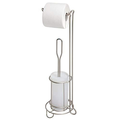 mDesign Toilettenpapierhalter mit Toilettenbürste ohne Bohren – freistehender Klorollenständer mit integrierter Klobürste – 2-in-1 WC Garnitur stehend – silberfarben