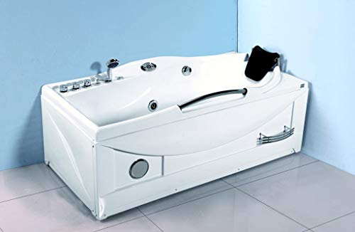 1 Person Computerized Massage Hydrotherapy Right Corner White Bathtub Tub Whirlpool with Bluetooth, Remote Control, Inline Water Heater, and 17 Total Jets