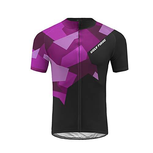 Uglyfrog Homme Maillot Cycliste Manches Courtes pour Hommes Maillot Vélo Jersey Cyclisme Tissu à Séchage Rapide élastique et Respirant