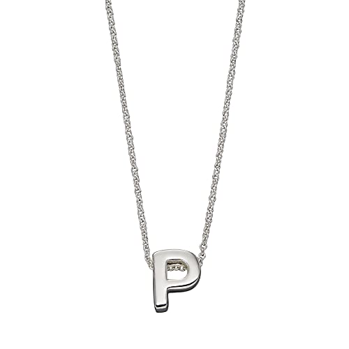 Beginnings - Collar de plata de ley 925 para mujer, adolescente, niña, hombre, niño, letra P, 41 cm + 5 cm