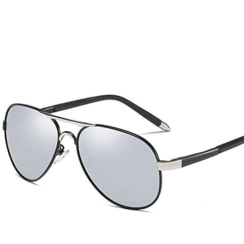 Gafas de sol para hombre: Los nuevos hombres polarizados gafas de sol primavera pierna retro espejo puede ser adyacente a la gafas (Plata)