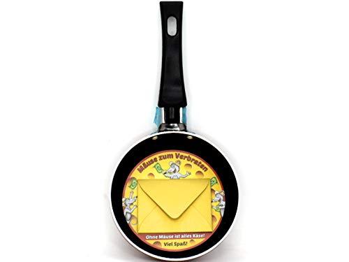 Geldgeschenk Mini Pfanne mit Spruch aus Aluminium Antihaft Bratpfanne - Ø 12cm (Mäuse zum Verbraten)