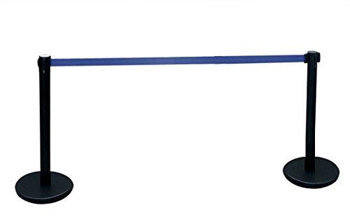 Poste separador de hierro lacado negro con Cinta Extensible Azul 3m. Delimitador de paso con cinta extensible de 3 m. Poste retráctil. (2- Postes cinta extensible)