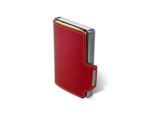 MONDRAGHI® linea THE ORIGINAL red stitched   Pelle a concia vegetale. Mini-wallet portatessere in pelle e clip portabanconote brevettata. Scocca in alluminio. Protezione RFID