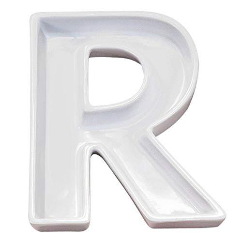 Ivy Lane Design Ceramic Love Letter Dish, Letter R, White