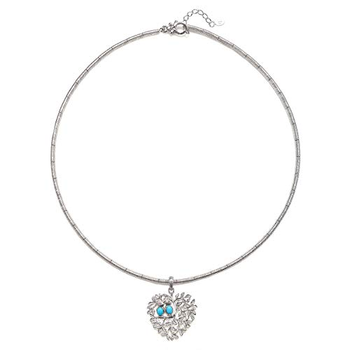 Ariva Sterling Silver Turquoise Love Bird Necklace