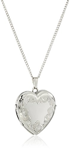 Amazon Collection Sterling Silver Engraved 4-Picture Heart Locket, 20'