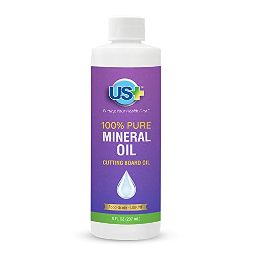 US+ 100% Pure Mineral Oil - Cutting Board Oil - Food-Grade - USP - Kosher - GMO-Free - Restores & Protects Cutting Boards, Butcher Blocks, Countertops, Steel Surfaces & More (8 Fl Oz)