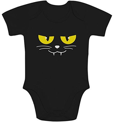Shirtgeil kattengezicht griezelig Halloween carnaval kostuum baby body korte mouwen body