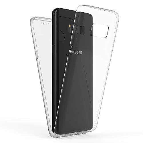 Kaliroo Handyhülle 360 Grad kompatibel mit Samsung Galaxy S8 Plus, Full-Body Schutzhülle Hardcase hinten & Displayschutz vorne mit Silikon Bumper, Full-Cover Case Komplett-Schutz Hülle - Transparent