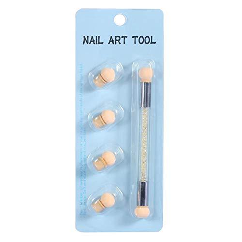 Stylo de peinture à double extrémité Nail Art Brosse éponge pratique avec 4 têtes d'éponge supplémentaires pour les amateurs d'art des ongles pour le bricolage pour un usage domestique pour