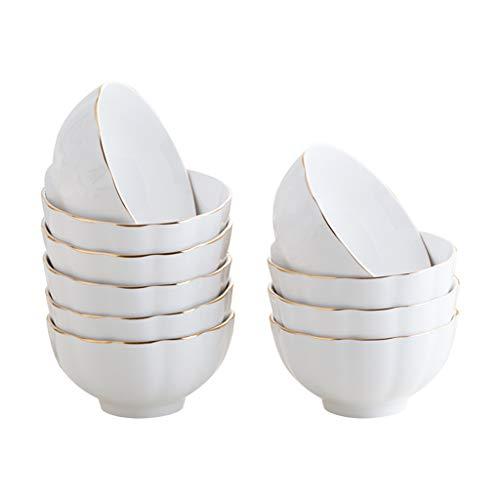 12LYN 10 Paquetes de cerámica para Comer en casa Tazón Tazón pequeño Hueso China Fideos creativos Tazón Sopa Tazón Plato de arroz