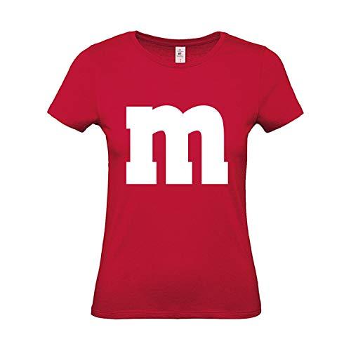 Shirt-Panda Damen T-Shirt M&M Gruppen Kostüm Karneval Fasching Verkleidung Party JGA Frauen Rot L