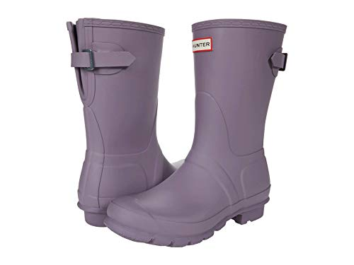 HUNTER Original Short Back Adjustable Rain Boots Purple Top 8 M