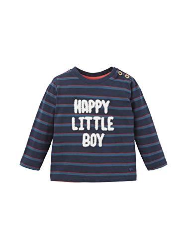 TOM TAILOR Babies T-Shirts/Tops Gestreiftes Langarmshirt mit Schriftzug Navy Blazer|Blue,80