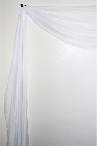 Gorgeous Home 1 Solid Decorative White Elegant Scarf Valance Sheer Voile Window Panel Curtain 216' Long Swag Topper