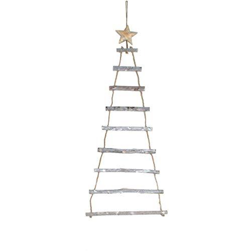 Houten ladder met ster om op te hangen en te decoreren - decolladder - Kerstmis - 25 x 70 cm natuur - 62233