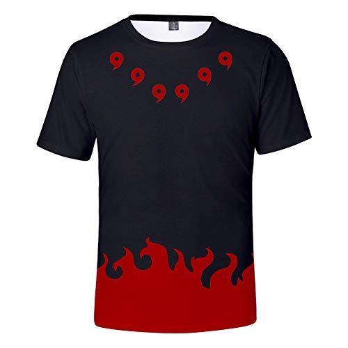 TSHIMEN t-Shirt männer Champion Naruto Japanische Comicfiguren 3D digitaler Farbdruck Männer und Frauen mit kurzen Ärmeln rot s