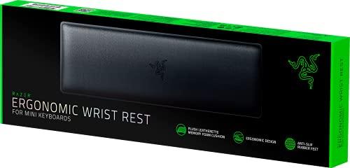 Razer Ergonomic Wrist Rest for Mini Keyboards: Plush Leatherette Memory Foam Cushion - Anti-Slip Rubber Feet