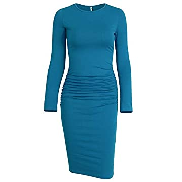 Missufe Women's Long Sleeve Ruched Casual Sundress Midi Bodycon Sheath Dress