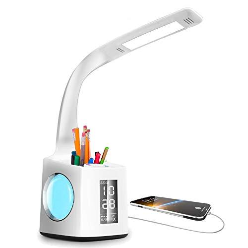 VAZILLIO LED Schreibtischlampe Dimmbar Stifthalter 10W Nachttischlampe mit Schwanenhals, Tischleuchte mit LCD Display,kalender , Wecker Temperaturerfassung Leselampe Weihnachtsgeschenke