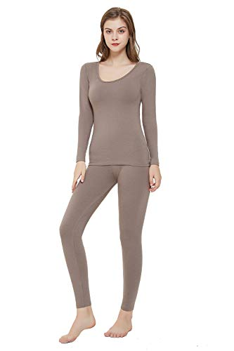 Vinconie Women Thermal Underwear Winter Clothes Womens Long Johns Thermals Skiiing Grey