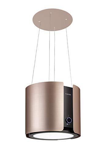 KLARSTEIN Skyfall Smart - hotte îlot, commande gestuelle et par appli, 45 x 42 cm (ØxL), suspension libre, mode recirculation, 3 vitesses, 402 m³/h, 200 W, éclairage LED, CEE C - or