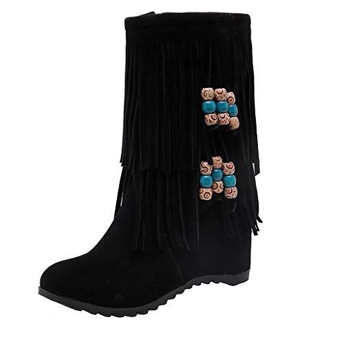 MINIKIMI Stiefeletten Fransen Damen Lederstiefel Wildleder Kurze Stiefel Winter Warm Flache Boots Retro Klassische Gummistiefel Winterschuhe