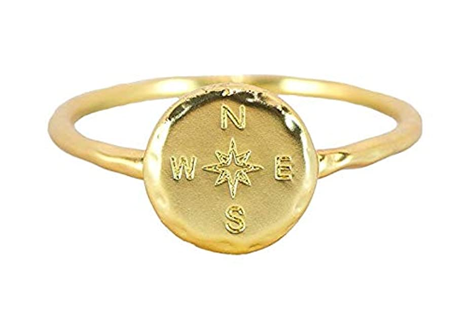 Pura Vida Gold Plated Compass Ring - Hammered Metal Brass Base .925 Sterling Silver - Size 5-9