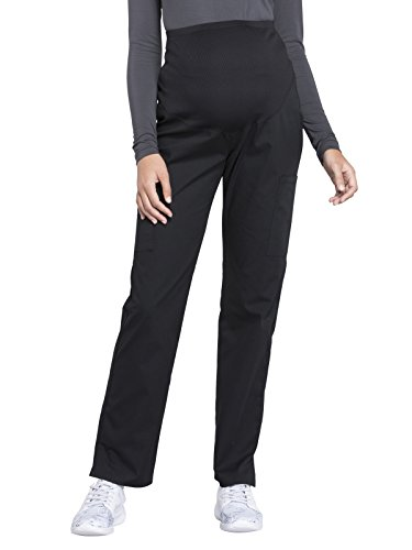 Cherokee Workwear Professionals Maternity Straight Leg Scrub Pant, M Tall, Black